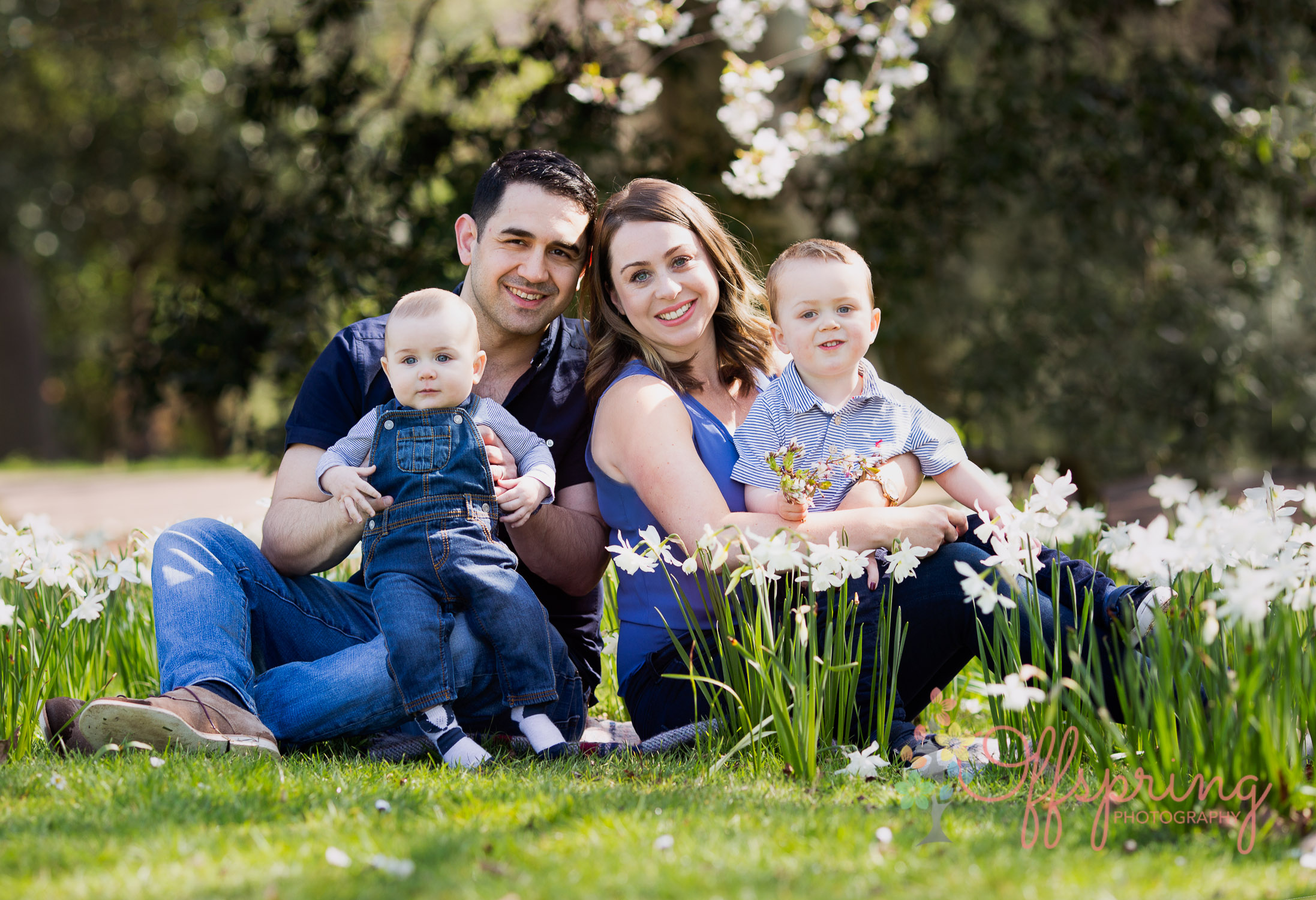 family in spring flowers in Jephson Gardens Leamington Spa